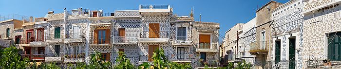 Xysta on the houses of the main square of Pygri, geometic patterned decorations in black and white that adorn the houses of the Mastic Villages of southern Chios dating back to the period Genoses rule. Mastichochoria area of Chios Island, Greece.