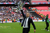 Millwall Manager, Neil Harris, celebrates winning the 2017 Division One Play-Off Final during Bradford City vs Millwall, Sky Bet EFL League 1 Play-Off Final at Wembley Stadium on 20th May 2017