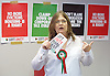 Ken Loach, director of Cathy Come Home launches Left Unity's 2015 manifesto in a Soho squat in Ingestre Court, Ingestre Place, Soho, London, Great Britain <br /> 31st March 2015 <br /> <br /> <br /> <br />  Felicity Dowling (PPC in GE2015 - Ellesmere Port and Neston)<br /> <br /> <br /> <br /> <br /> Photograph by Elliott Franks <br /> Image licensed to Elliott Franks Photography Services