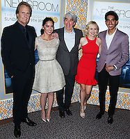 LOS ANGELES, CA, USA - NOVEMBER 04: Jeff Daniels, Olivia Munn, Sam Waterston, Alison Pill, Dev Patel arrive at the Los Angeles Season 3 Premiere Of HBO's Series 'The Newsroom' held at the DGA Theatre on November 4, 2014 in Los Angeles, California, United States. (Photo by Xavier Collin/Celebrity Monitor)