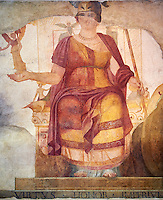 "Fresco of Venus sitting restored as Roma  known as the ""Dea Barberini"" (""Barberini goddess""), dating from the first quarter of the fourth century. A.D, excavated near to Baptistery of St. John Lateran , Rome Museo Nazionale Romano ( National Roman Museum), Rome, Italy."