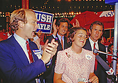 From left to right: Neil Bush, Marvin Bush, Dorothy Bush LeBlonde, and George W. Bush, four of the five children of United States Vice President George H.W. Bush, appear on the floor of the 1988 Republican National Convention at the Louisiana Superdome in New Orleans, Louisiana on August 17, 1988.  <br /> Credit: Arnie Sachs / CNP
