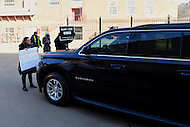Washington, DC - February 10, 2017: Protestors block the SUV of Secretary of Education Betsy DeVos as she arrives to visit the Jefferson Junior High School in the District of Columbia, February 10, 2017. Three protestors successfully prevented DeVos from entering the school. (Photo by: Don Baxter/Media Images International)