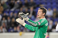 New England Revolution goalkeeper Bobby Shuttleworth (34) talks to his defenders during a Major League Soccer (MLS) match againstthe New York Red Bulls at Red Bull Arena in Harrison, NJ, on October 21, 2010.