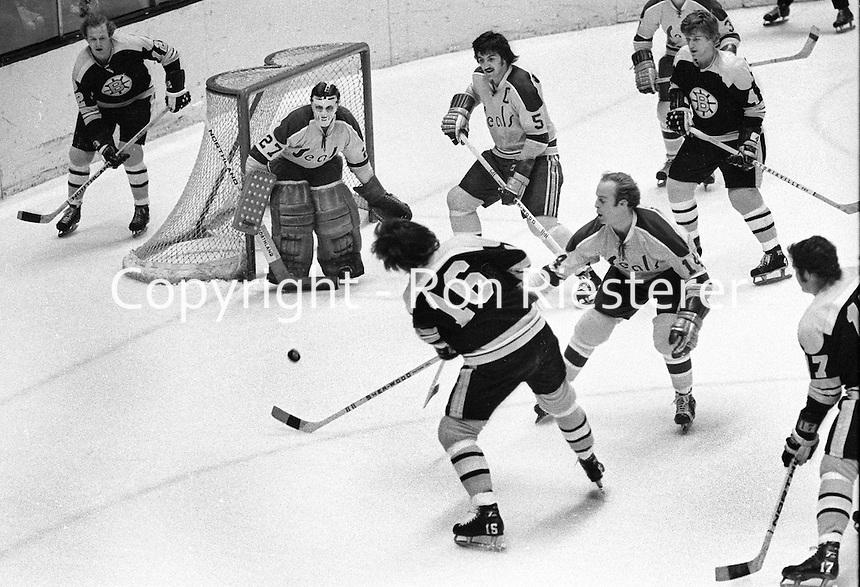 California Golden Seals vs. Boston Bruins at the Oakland Alameda County Coliseum Arena.<br />Seals goalie Gilles Meloche, Carol Vadnais,  Craig Patrick, Bruins,#16 &amp; #12 ? Sanderson?, Bobby Orr. <br />(photo by Ron Riesterer)