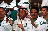 Pix: Simon Wilkinson/SWpix.com. 1st Islamic Solidarity Games 2005. The Kingdom of Saudi Arabia. Jeddah, Madina, Mecca and Taif. Athletics..copyright picture>>simon Wilkinson>>07811 267 706>>..Fans congratulate the athletes