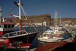 Fishing nets and boats,Puerto Mogan, Gran Canaria, Canary Islands, Spain.