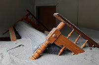 Close up of lahar damage in a home from the eruption of  Chaiten Volcano, Chaiten City, Japan.
