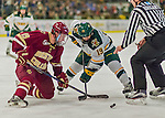 20 February 2016: University of Vermont Catamount Forward Jarrid Privitera, a Sophomore from Old Tappan, NJ, takes a second period face-off against Boston College Eagle Forward Ryan Fitzgerald, a Junior from North Reading, MA, at Gutterson Fieldhouse in Burlington, Vermont. The Eagles defeated the Catamounts 4-1 in the second game of their weekend series. Mandatory Credit: Ed Wolfstein Photo *** RAW (NEF) Image File Available ***
