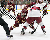 Dmitry Antipin, Austin Cangelosi (BC - 9), Alexander Kerfoot (Harvard - 14) - The Harvard University Crimson defeated the visiting Boston College Eagles 5-2 on Friday, November 18, 2016, at Bright-Landry Hockey Center in Boston, Massachusetts.{headline] - The Harvard University Crimson defeated the visiting Boston College Eagles 5-2 on Friday, November 18, 2016, at Bright-Landry Hockey Center in Boston, Massachusetts.