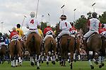 Cartier International Polo, Windsor Great Park. Junior polo players parade around the ring. England 2006.