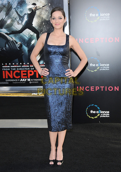 MARION COTILLARD .at the Warner Bros. Film Premiere of 'Inception' held at The Grauman's Chinese Theatre in Hollywood, California, USA, July 13th 2010..full length dress blue shiny navy sleeveless open toe shoes black quilted bows chanel hands on hips .CAP/RKE/DVS.©DVS/RockinExposures/Capital Pictures.