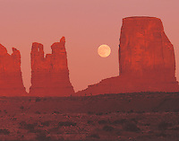 Moonrise at Monument Valley, Monument Valley Tribal Park, Navajo Reservation, Arizona/Utah