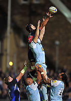 Ben Skirving reaches to claim lineout ball. Aviva Premiership match, between Bath Rugby and Northampton Saints on September 14, 2012 at the Recreation Ground in Bath, England. Photo by: Patrick Khachfe / Onside Images