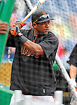 1 May 2011: San Francisco Giants infielder Miguel Tejada takes batting practice prior to a game against the Washington Nationals at Nationals Park in Washington, District of Columbia. The Nationals defeated the Giants 5-2. Mandatory Credit: Ed Wolfstein Photo