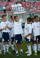 July 21, 2010  Young fans show their support for the Bolton Wanderers during the opening ceremonies of the Carlsberg Cup match between the Bolton Wanderers FC and Toronto FC at BMO Field in Toronto..Th Bolton Wanderrs FC won 4-3 on penalty kicks.
