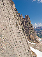 Nick and Felicia from Montana climb Suprisingly Subsevere on Crescent Spire, Bugaboo Provincial Park, British Columbia, Canada