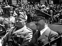 Fuhrer und Duce in Munchen.  Hitler and Mussolini in Munich, Germany, ca.  June 1940.  Eva Braun Collection.  (Foreign Records Seized)<br /> Exact Date Shot Unknown<br /> NARA FILE #:  242-EB-7-38<br /> WAR &amp; CONFLICT BOOK #:  746