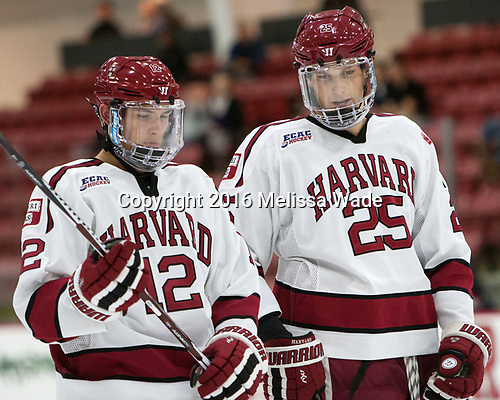 John Marino (Harvard - 12), Wiley Sherman (Harvard - 25) - The Harvard University Crimson defeated the US National Team Development Program's Under-18 team 5-2 on Saturday, October 8, 2016, at the Bright-Landry Hockey Center in Boston, Massachusetts.