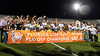 Orlando, FL - Saturday Jan. 21, 2017: São Paulo celebrate during the award ceremony of the Florida Cup Championship match between São Paulo and Corinthians at Bright House Networks Stadium. The game ended 0-0 in regulation with São Paulo defeating Corinthians 4-3 on penalty kicks