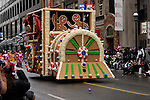 Gingerbread train at Santa Claus Parade in Toronto Ontario Canada
