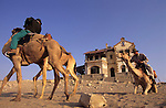 Benedict Allen, his guide Tommy  and team of camels at an abandoned Diamond  mine  on  his journey along the Skeleton coast of Namibia from South Africa to Angola.  Namib Naukluft desert ...
