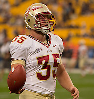 Florida State tight end Nick O'Leary scored three touchdowns against Pitt. Florida State defeated Pitt 41-13 at Heinz Field on September 2, 2013.