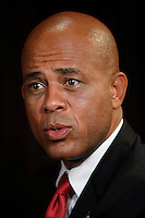 "Haiti's president Michelle Martelly during a visit to Santo Domingo February, 2011. Popular Haitian compa singer Martelly ""sweet mikey or Tet Kale"" has been declared the next president of the Caribbean volatile country. Official results showed Mr Martelly won 67.6% of the vote, defeating former first lady Mirlande Manigat. VIEWPRESS/VP"