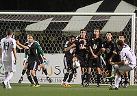 Branden Barklage#24, Andy Najar#14, Mark Burch#4, Conor Shanosky#17,Blake Brettechneider#29 and Perry Kitchen#23 of D.C. United  defend against a freekick from Orr Barouch #15 of the Chicago Fire during a second round match of the Carolina Challenge on March 9 2011 at Blackbaud Stadium, in Charleston, South Carolina. D.C. United won 1-0.