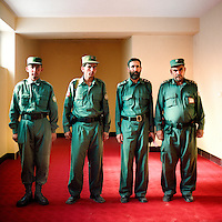 Afghan National Army soldiers in charge of security in Herat jail.