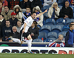 QOS's Nicky Clark celebrates his goal