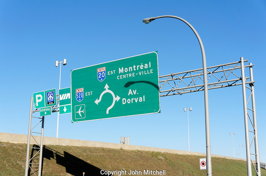 French language highway direction signs in Dorval, Montreal, Quebec, Canada