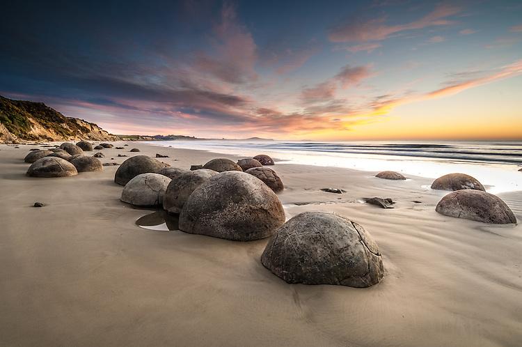 Moeraki Boulders sunrise, Otago, South Island, New Zealand - stock photo, canvas, fine art print