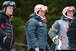 FRANCONIA, NH - MARCH 10:   Athletes watch the action from the start area during the Men's Slalom event at the Division I Men's and Women's Skiing Championships held at Cannon Mountain on March 10, 2017 in Franconia, New Hampshire. (Photo by Gil Talbot/NCAA Photos via Getty Images)