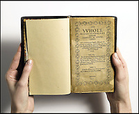BNPS.co.uk (01202 558833).Pic: Sothebys/BNPS..First page - written in English...The most expensive book in the world is coming up for auction at Sothebys - But you will need a whopping £20million to buy it...The historic Book of Psalms was printed by the Pilgrim Fathers on their arrival in the New World in 1640 -making it the first book ever printed in America...The Pilgrims had left Britain for a new life of religious freedom and this prayer book was a tangible example of their new found liberty - containing a text much closer to the hebrew oiginal than would be permitted in Europe...The book was printed in Cambridge Massachusetts in 1640 and is one of only 11 still known to exist...With a £20million estimate the book is even more valuable than Shakespeare's First Folio or the Gutenberg Bible. Making it by far the most expensive printed book in the world...Sothebys New York - 26th Nov - Est £20million. ..