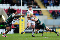 Ian Whitten of Exeter Chiefs takes on the Leicester Tigers defence. Aviva Premiership match, between Leicester Tigers and Exeter Chiefs on March 6, 2016 at Welford Road in Leicester, England. Photo by: Patrick Khachfe / JMP
