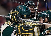 The Catamounts celebrate Lance Herrington's (Vermont - 20) first collegiate goal which tied the game at 3. - The visiting University of Vermont Catamounts tied the Boston University Terriers 3-3 in the opening game of their weekend series at Agganis Arena in Boston, Massachusetts, on Friday, February 25, 2011.