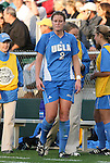 1 December 2006: UCLA's Stacy Lindstrom (2) is forced to leave the game during the first half for bleeding from a cut on her nose. The University of North Carolina Tarheels defeated the University of California Los Angeles Bruins 2-0 at SAS Stadium in Cary, North Carolina in an NCAA Division I Women's College Cup semifinal game.