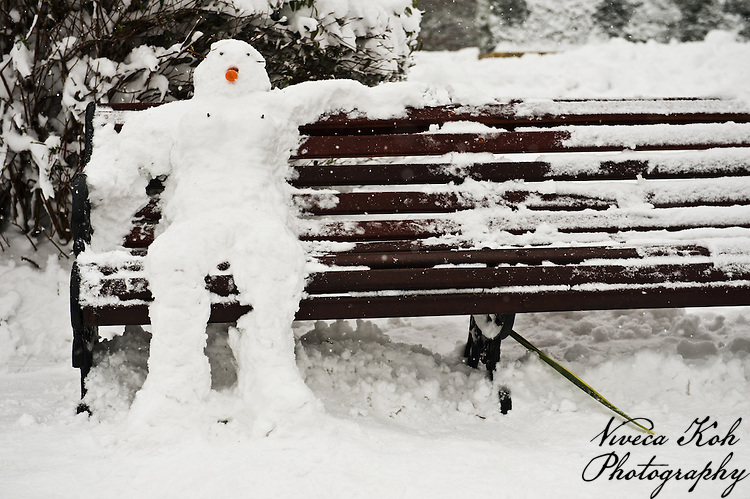 Snowman on a park bench