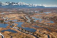Aerial of the Copper River Delta, Prince William Sound, Alaska.