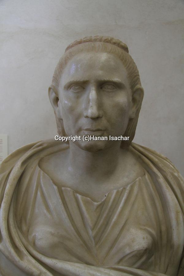 Portrait bust of Empress Salonina, Roman, 3rd century AD from Ashkelon, on display at the Rockefeller Museum