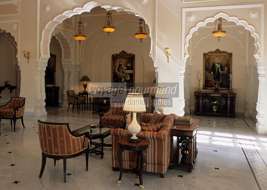 Asie/Inde/Rajasthan/Jaipur : Hall du Rambagh Palace