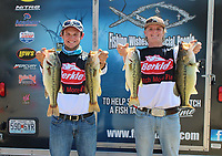 Courtesy photo<br />STUDENT ANGLERS WIN AT BULL SHOALS<br />Reese Jones, a student at Rogers High School (left), and Dalton Johnson of Prairie Grove High School won the National Youth Fishing Association Arkansas division bass tournament held April 9 at Bull Shoals Lake. They won with a five-fish limit that weighed 15.17 pounds. Their catch was anchored by a 5-pounder Johson caught. Most of their fish were caught on a jig and pig worked along bluffs.