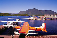 Sightseeing Float Planes in the Harbour at Tofino, on Vancouver Island, British Columbia, Canada