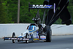 May 6, 2012; Commerce, GA, USA: NHRA top fuel dragster driver Brandon Bernstein during the Southern Nationals at Atlanta Dragway. Mandatory Credit: Mark J. Rebilas-