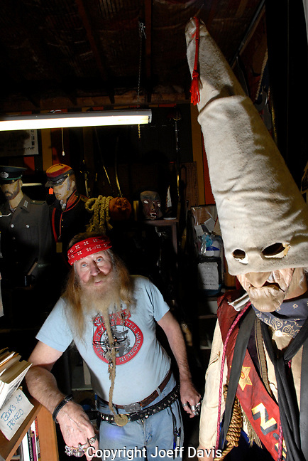 "Dent Myers is the proprietor of ""Wildman's Civil War Surplus and Herb Shop"", a store in Kennesaw selling Civil War, KKK and Nazi memorabilia. He is famous for his beard, his friendly demeanor, his love of guns and his racism...Shot in December 2007"