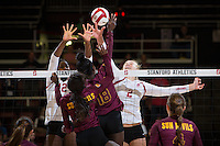 STANFORD, CA - October 15, 2016: Inky Ajanaku,Kathryn Plummer at Maples Pavilion. The Cardinal defeated the Arizona State Sun Devils 3-1.