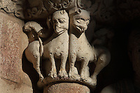 Capital with animal sculptures, Basilica de San Vicente (St Vincent's Basilica), 12th century, attributed to Giral Fruchel, Avila, Castile and Leon, Spain.  Located just outside the city walls on the site of the martyrdom of St Vincent. Picture by Manuel Cohen