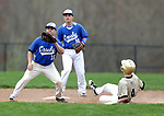 Beacon Falls, CT- 24 April 2017-042417CM03- Woodland's Justin Butterworth slides safely into second as Crosby's Eli DeJesus waits for the throw during their baseball matchup on Monday.  Backing him up is teammate, Josh Bolough.   Christopher Massa Republican-American