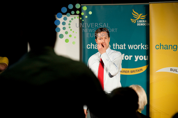 Liberal Democrats leader Nick Clegg speaks at Woodside community centre. Nick Clegg gave a summary of his parties manifesto before entering into a Q&A with potential supporters. The Lib Dems leader was joined  by East Dunbartonshire candidate Jo Swinson..Woodside Community Centre, 36 Glenfarg Street, Scotland G20 7QE. Picture: Euan Anderson/Universal News And Sport (Scotland) 4th May 2010.